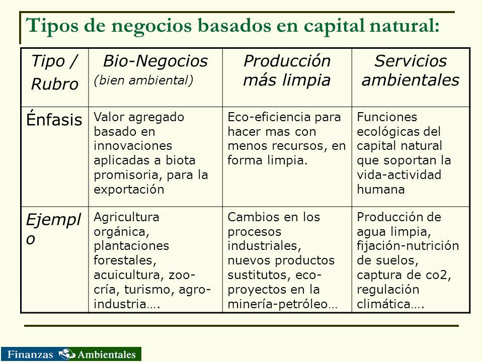 Tipos de negocios basados en capital natural: