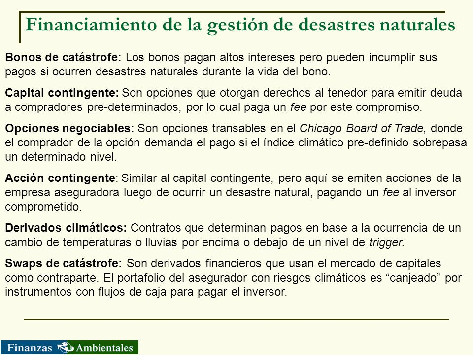 Financiamiento de la gestión de desastres naturales