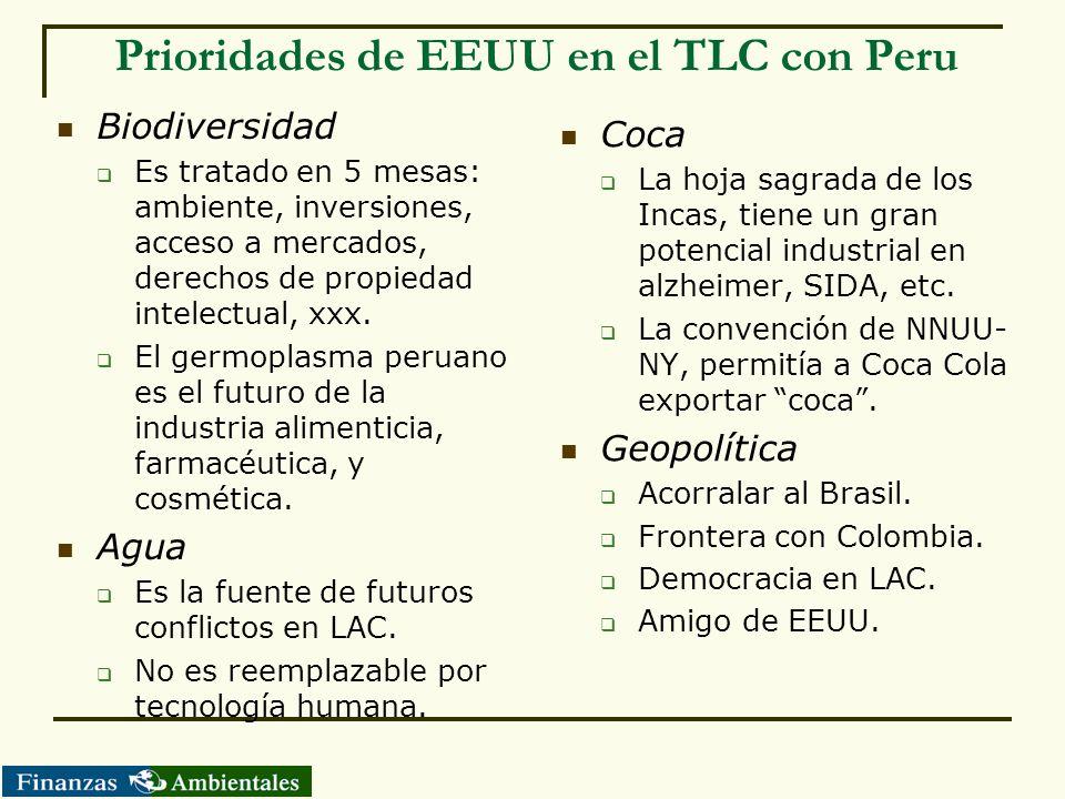 Prioridades de EEUU en el TLC con Peru