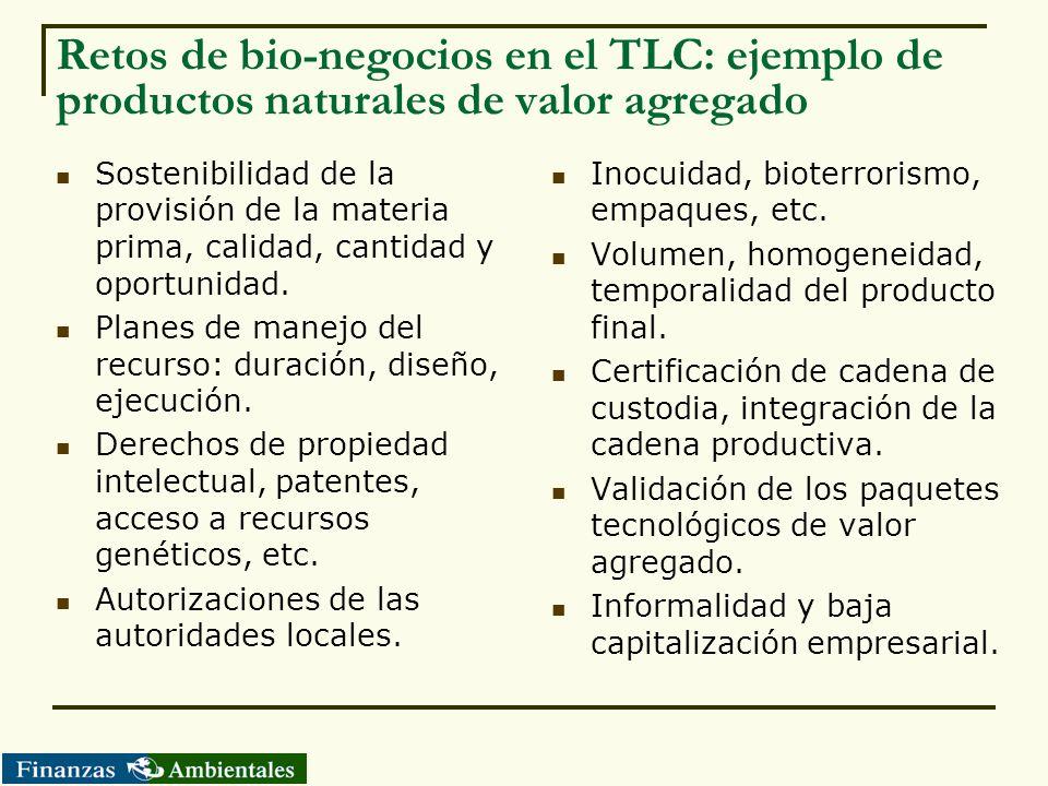 Retos de bio-negocios en el TLC: ejemplo de productos naturales de valor agregado
