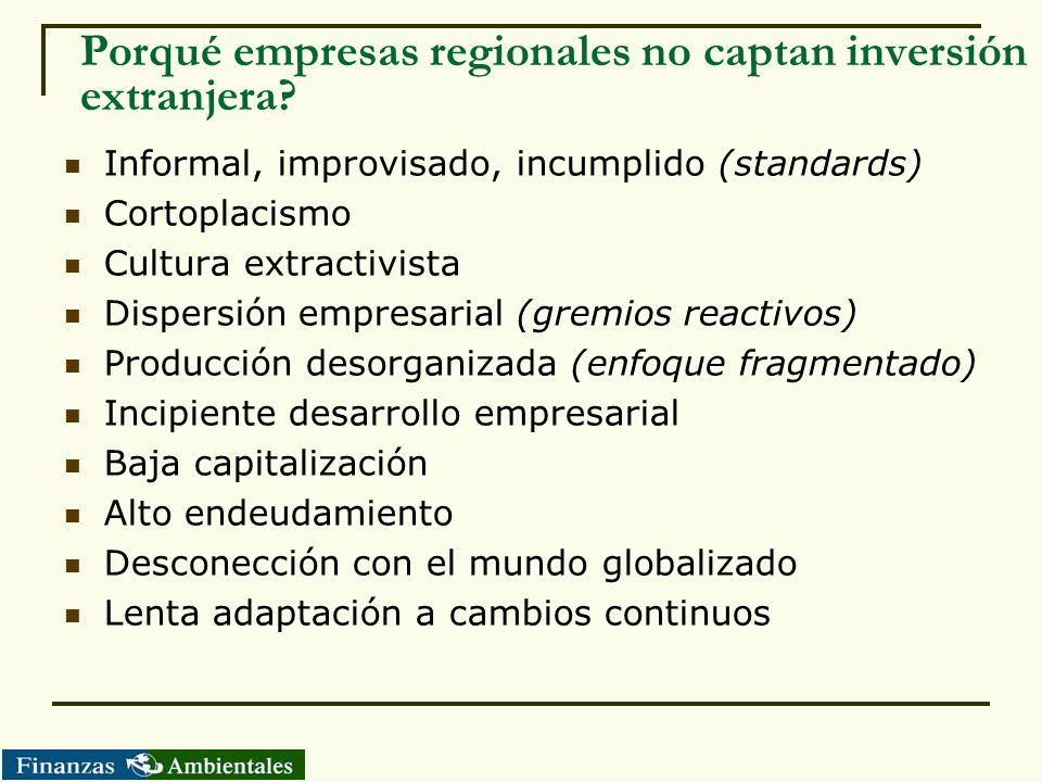 Porqué empresas regionales no captan inversión extranjera