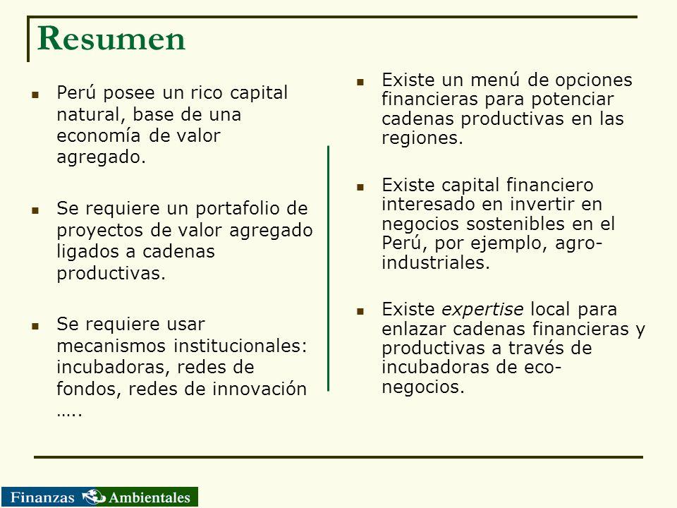Resumen Existe un menú de opciones financieras para potenciar cadenas productivas en las regiones.