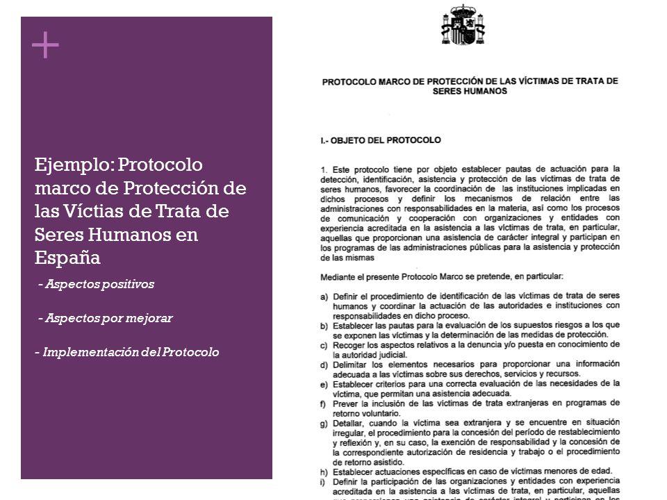 Ejemplo: Protocolo marco de Protección de las Víctias de Trata de Seres Humanos en España