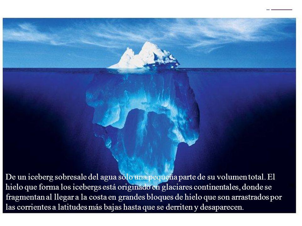 De un iceberg sobresale del agua sólo una pequeña parte de su volumen total.