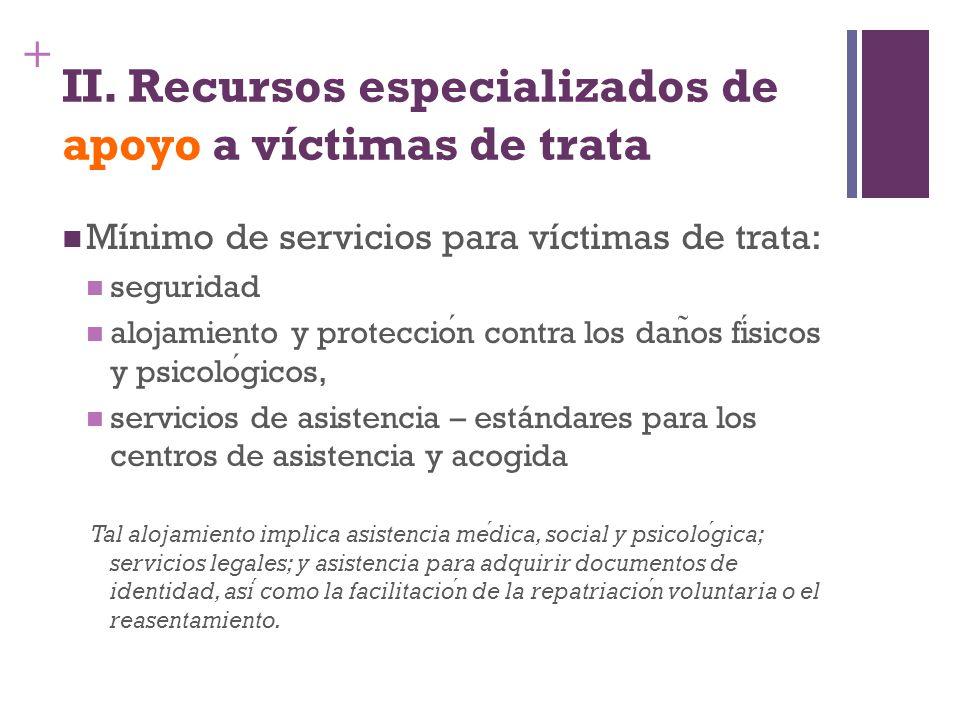 II. Recursos especializados de apoyo a víctimas de trata