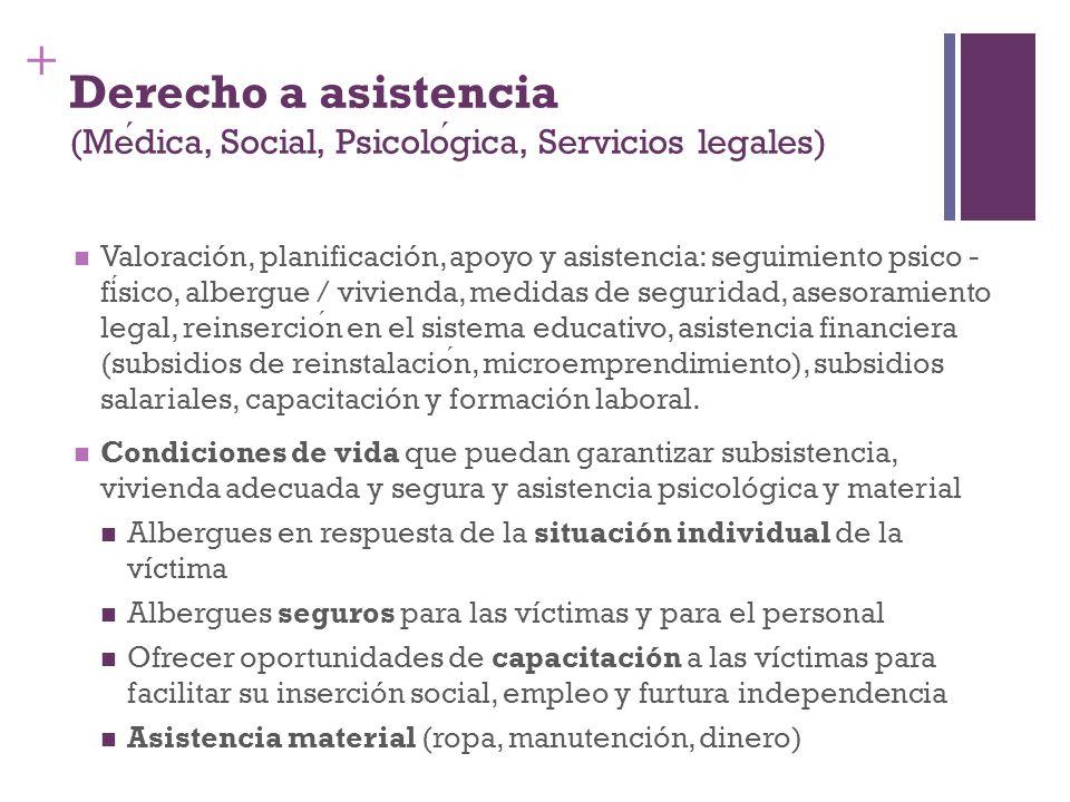 Derecho a asistencia (Médica, Social, Psicológica, Servicios legales)
