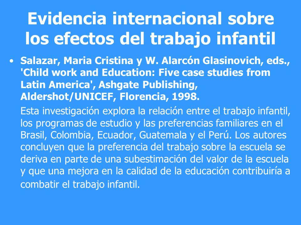 Evidencia internacional sobre los efectos del trabajo infantil
