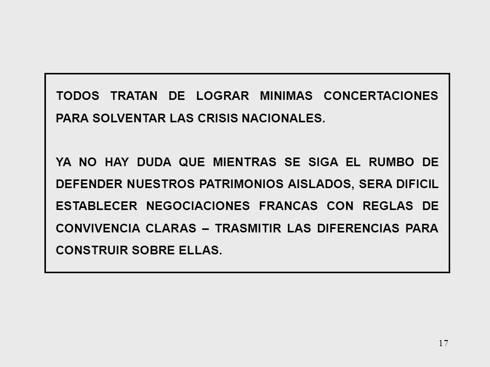 TODOS TRATAN DE LOGRAR MINIMAS CONCERTACIONES PARA SOLVENTAR LAS CRISIS NACIONALES.