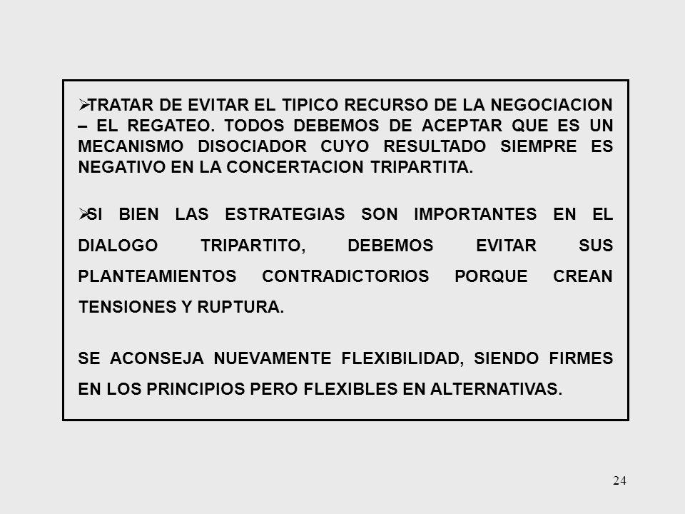 TRATAR DE EVITAR EL TIPICO RECURSO DE LA NEGOCIACION – EL REGATEO