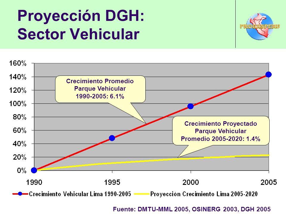Proyección DGH: Sector Vehicular