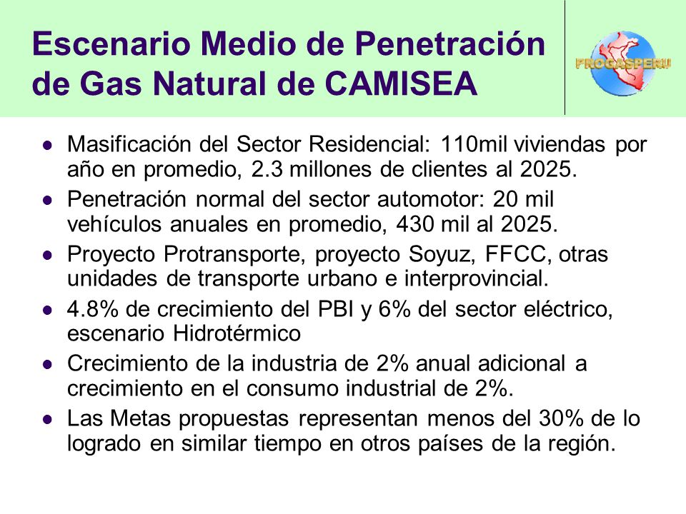 Escenario Medio de Penetración de Gas Natural de CAMISEA