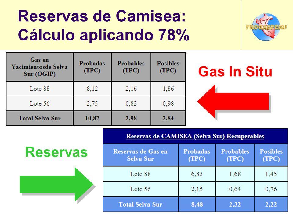 Reservas de Camisea: Cálculo aplicando 78%