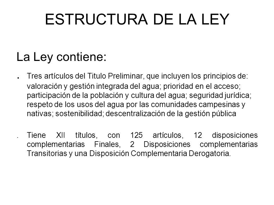 ESTRUCTURA DE LA LEY La Ley contiene: