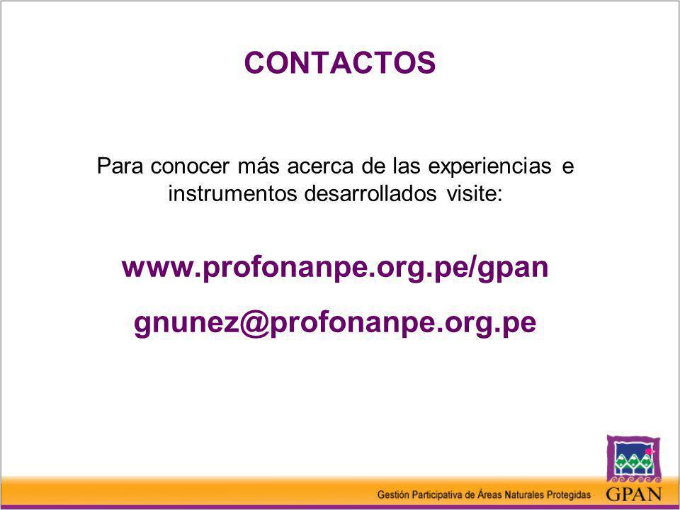 CONTACTOS www.profonanpe.org.pe/gpan