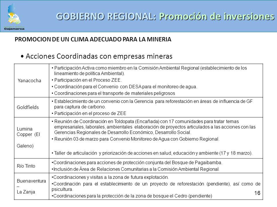 GOBIERNO REGIONAL: Promoción de inversiones