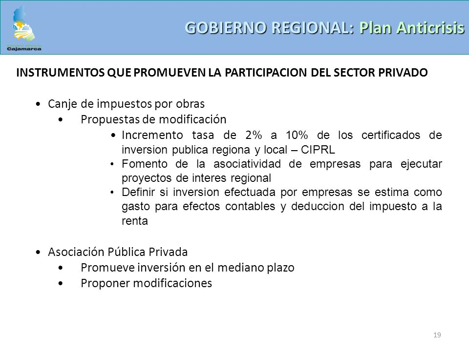 GOBIERNO REGIONAL: Plan Anticrisis
