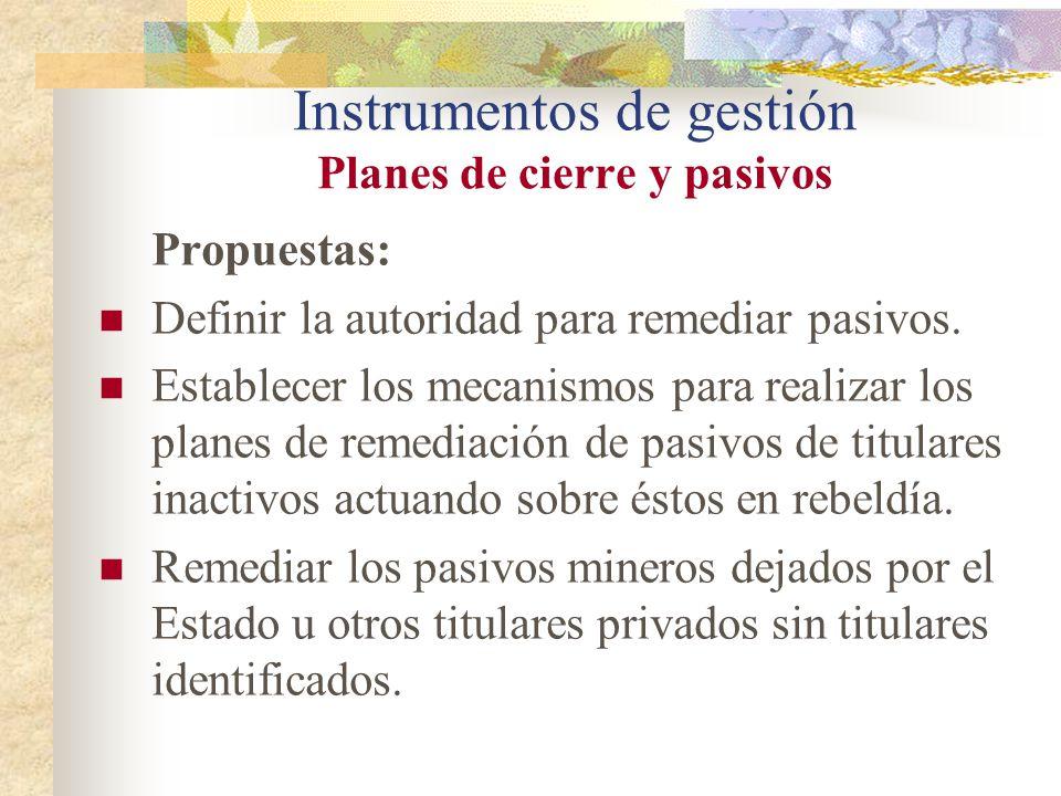 Instrumentos de gestión Planes de cierre y pasivos