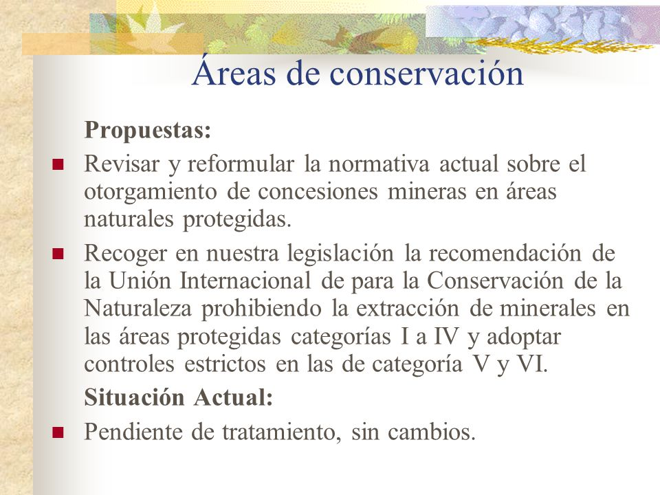 Áreas de conservación Propuestas: