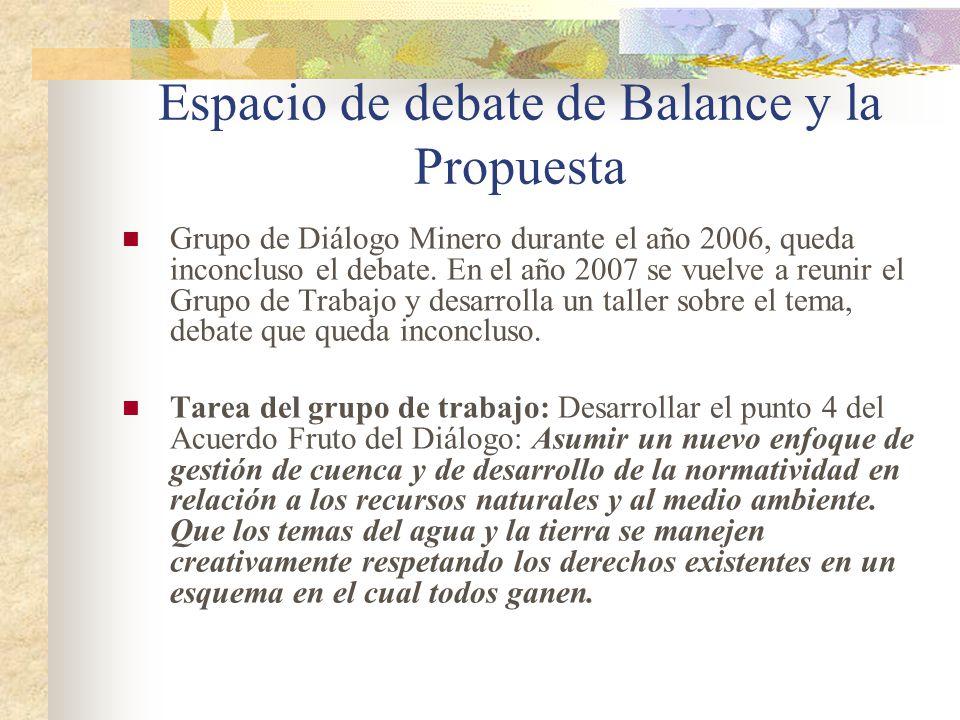 Espacio de debate de Balance y la Propuesta