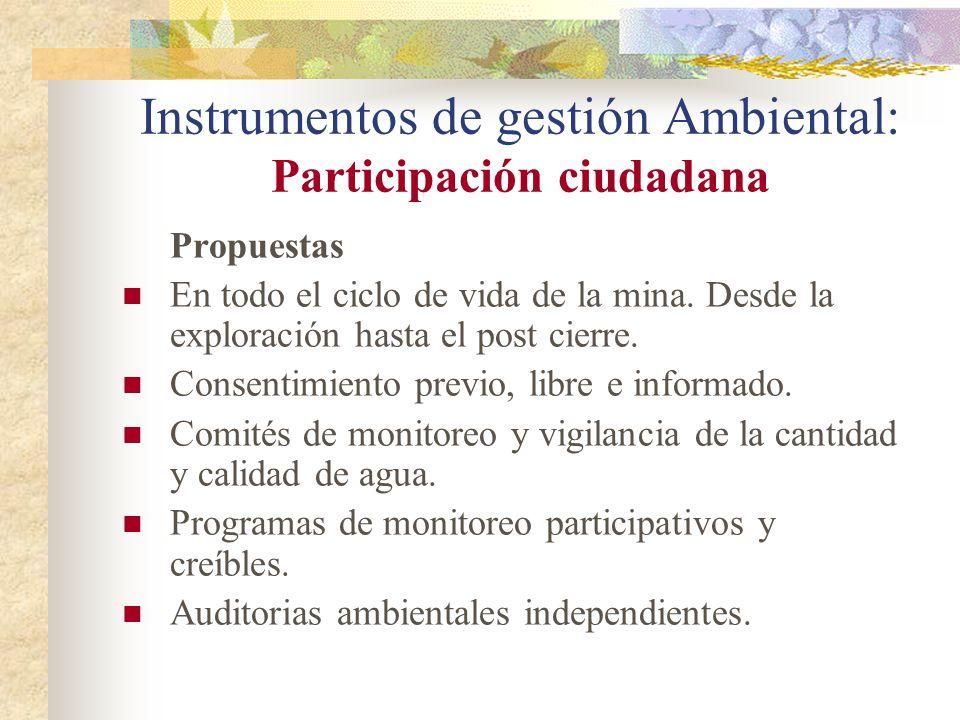 Instrumentos de gestión Ambiental: Participación ciudadana
