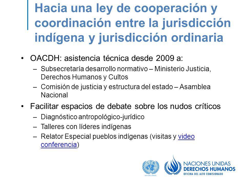 Hacia una ley de cooperación y coordinación entre la jurisdicción indígena y jurisdicción ordinaria