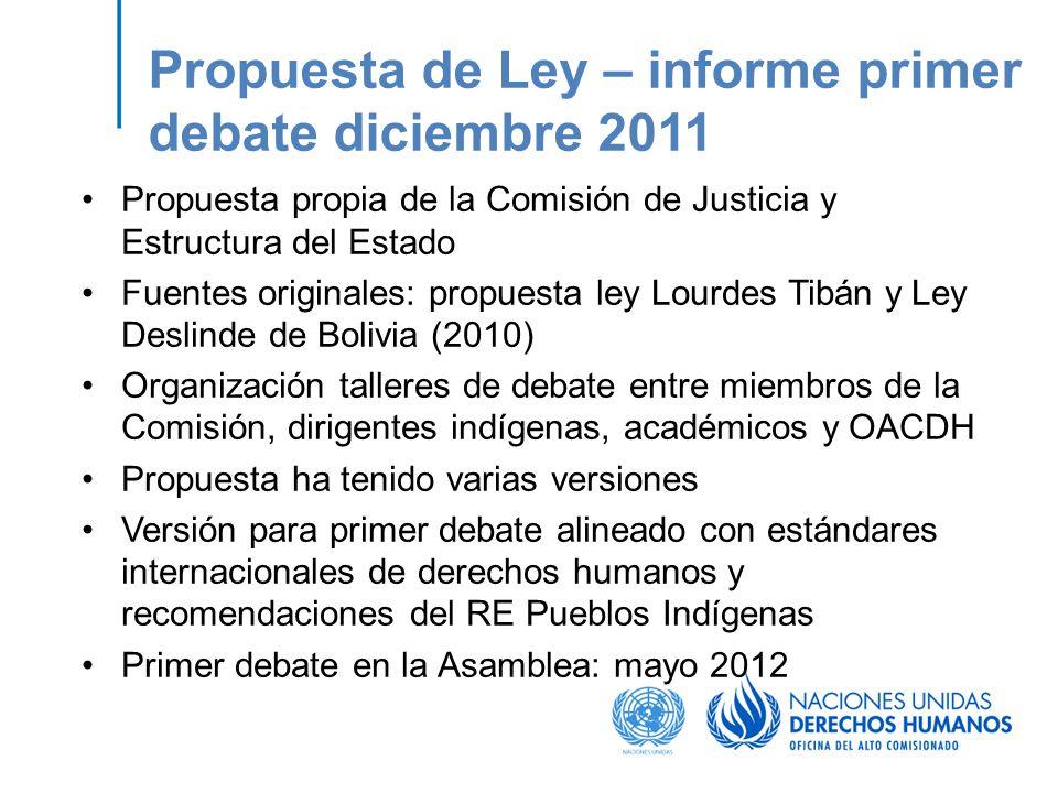 Propuesta de Ley – informe primer debate diciembre 2011