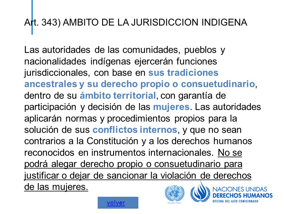 Art. 343) AMBITO DE LA JURISDICCION INDIGENA