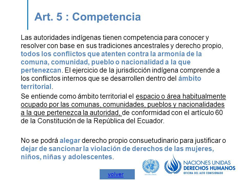 Art. 5 : Competencia