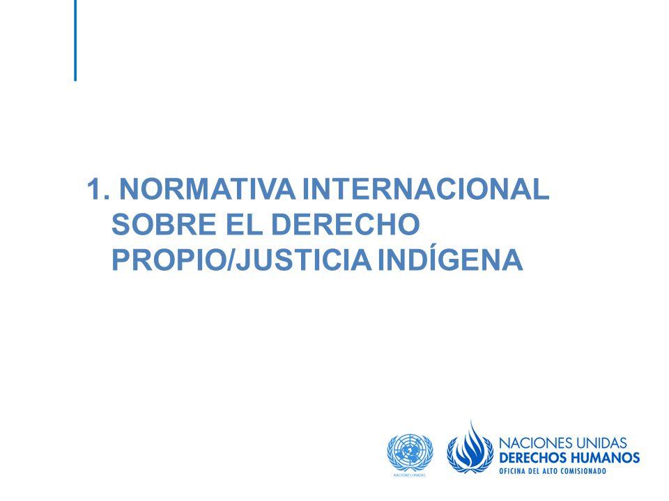 1. NORMATIVA INTERNACIONAL SOBRE EL DERECHO PROPIO/JUSTICIA INDÍGENA