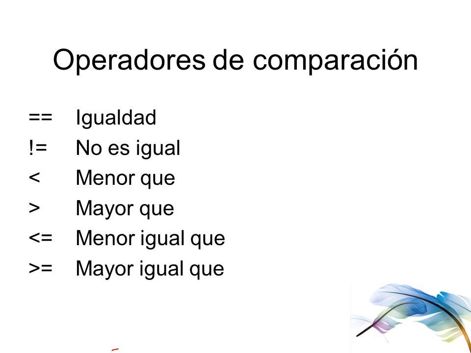 Operadores de comparación