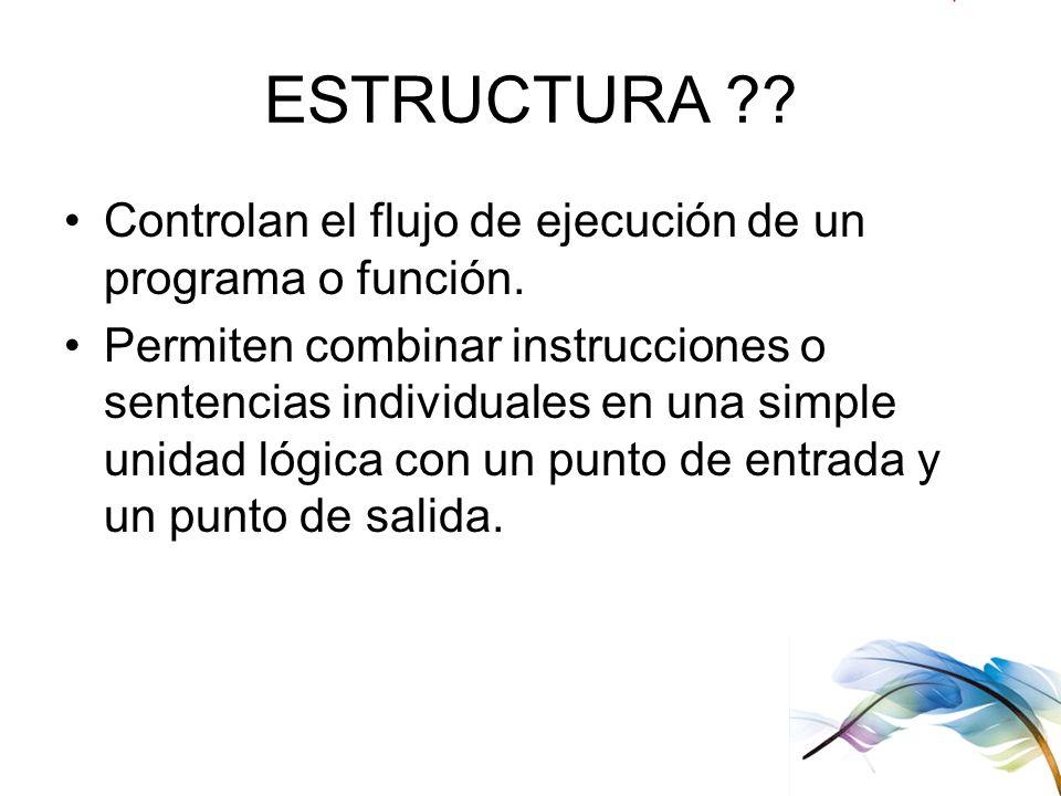 ESTRUCTURA Controlan el flujo de ejecución de un programa o función.