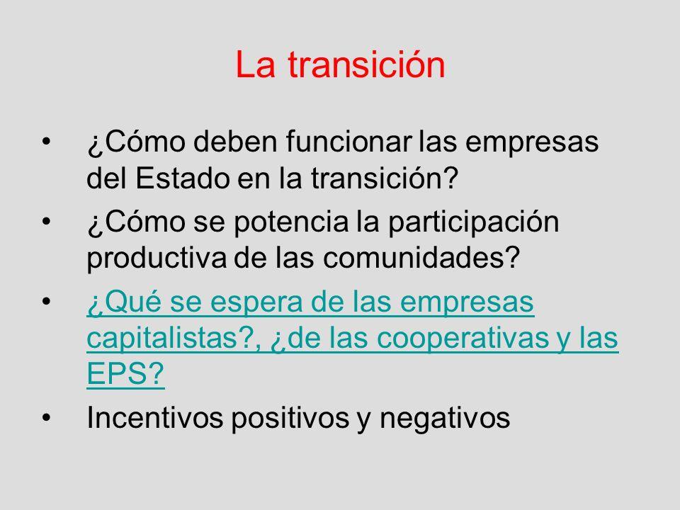 La transición ¿Cómo deben funcionar las empresas del Estado en la transición ¿Cómo se potencia la participación productiva de las comunidades