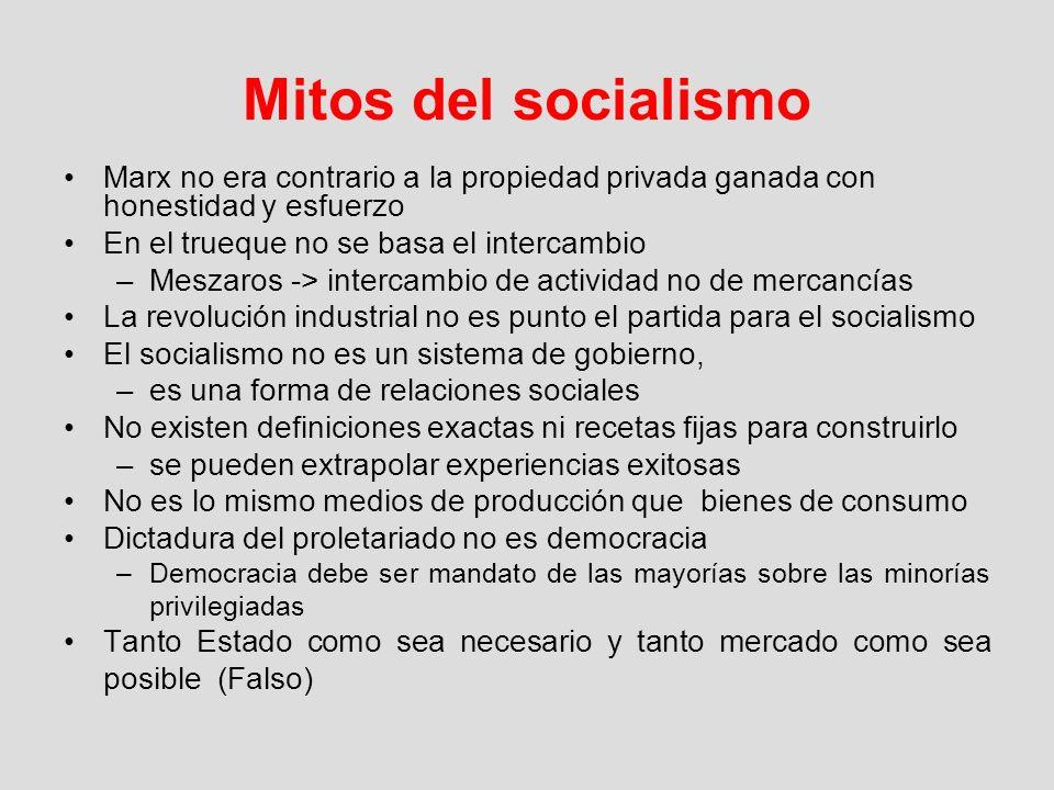 Mitos del socialismoMarx no era contrario a la propiedad privada ganada con honestidad y esfuerzo. En el trueque no se basa el intercambio.