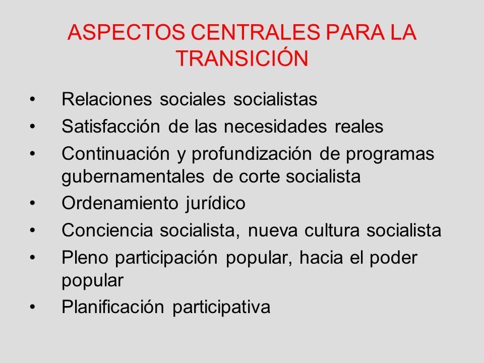 ASPECTOS CENTRALES PARA LA TRANSICIÓN