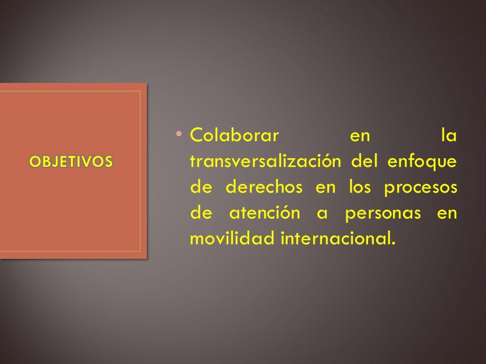Colaborar en la transversalización del enfoque de derechos en los procesos de atención a personas en movilidad internacional.