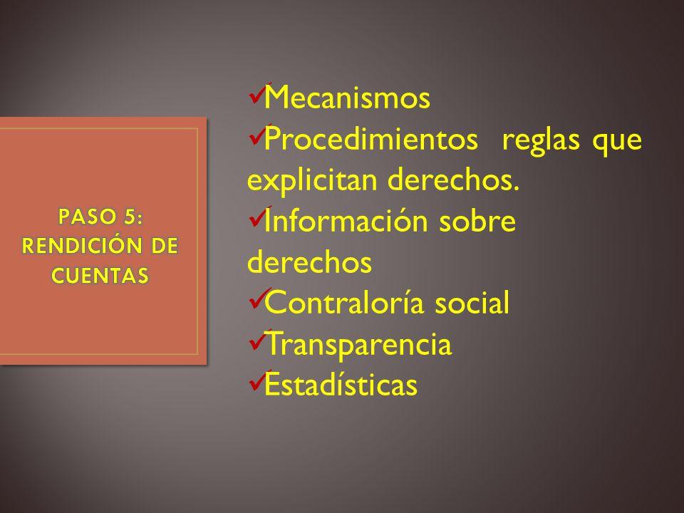 PASO 5: RENDICIÓN DE CUENTAS
