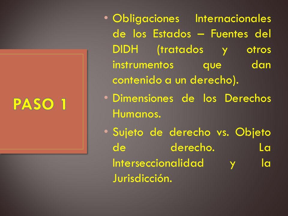 Obligaciones Internacionales de los Estados – Fuentes del DIDH (tratados y otros instrumentos que dan contenido a un derecho).