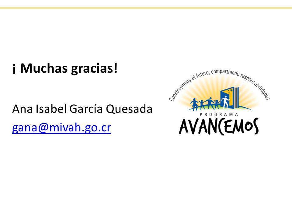 ¡ Muchas gracias! Ana Isabel García Quesada gana@mivah.go.cr