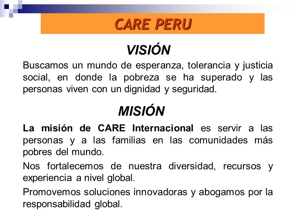 CARE PERU VISIÓN MISIÓN