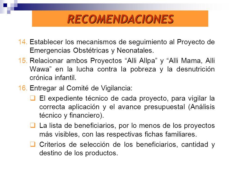 RECOMENDACIONES Establecer los mecanismos de seguimiento al Proyecto de Emergencias Obstétricas y Neonatales.