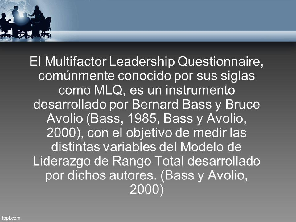 El Multifactor Leadership Questionnaire, comúnmente conocido por sus siglas como MLQ, es un instrumento desarrollado por Bernard Bass y Bruce Avolio (Bass, 1985, Bass y Avolio, 2000), con el objetivo de medir las distintas variables del Modelo de Liderazgo de Rango Total desarrollado por dichos autores.