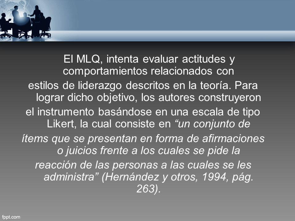 El MLQ, intenta evaluar actitudes y comportamientos relacionados con