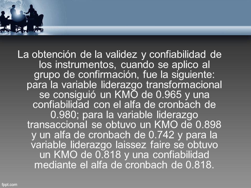 La obtención de la validez y confiabilidad de los instrumentos, cuando se aplico al grupo de confirmación, fue la siguiente: para la variable liderazgo transformacional se consiguió un KMO de 0.965 y una confiabilidad con el alfa de cronbach de 0.980; para la variable liderazgo transaccional se obtuvo un KMO de 0.898 y un alfa de cronbach de 0.742 y para la variable liderazgo laissez faire se obtuvo un KMO de 0.818 y una confiabilidad mediante el alfa de cronbach de 0.818.