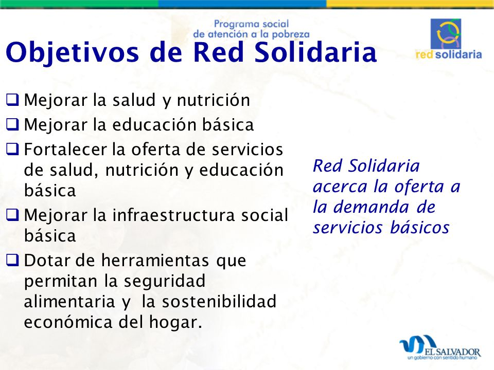 Objetivos de Red Solidaria