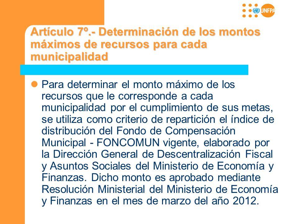 Artículo 7º.- Determinación de los montos máximos de recursos para cada municipalidad