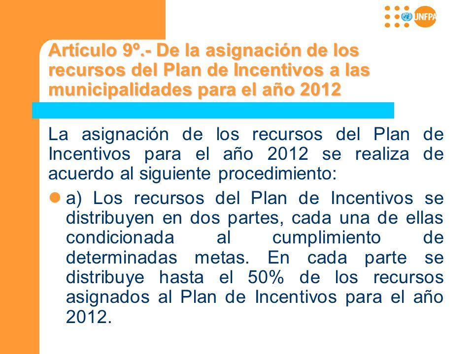 Artículo 9º.- De la asignación de los recursos del Plan de Incentivos a las municipalidades para el año 2012