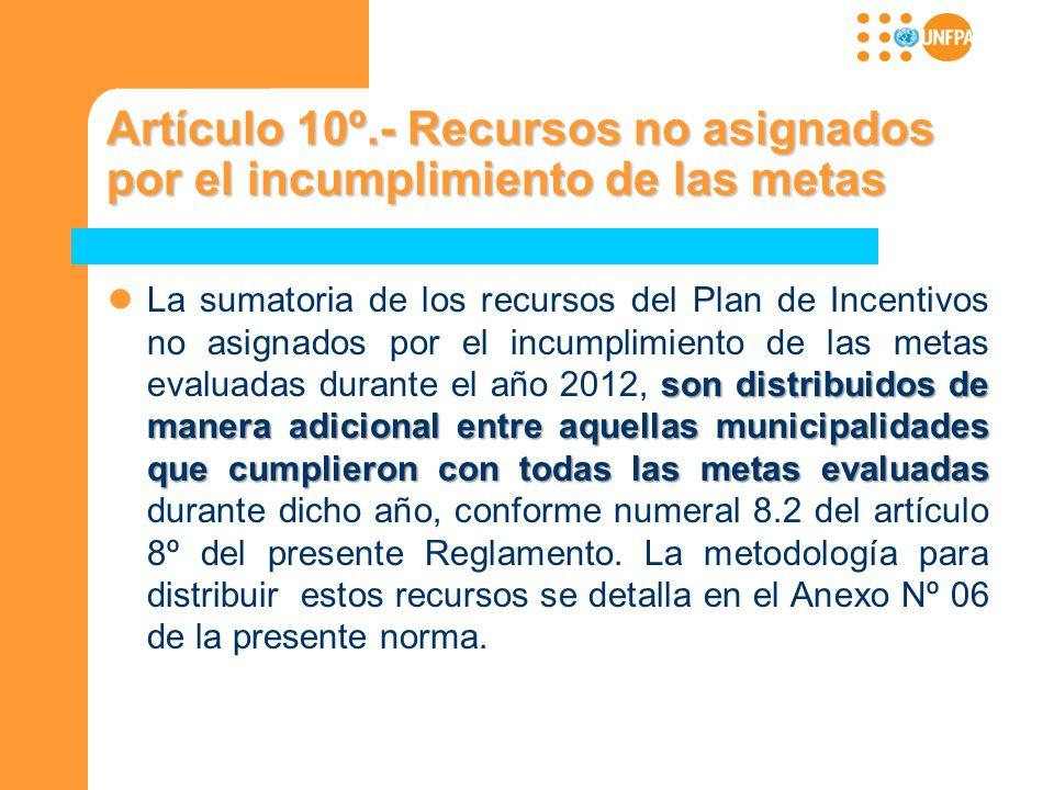 Artículo 10º.- Recursos no asignados por el incumplimiento de las metas