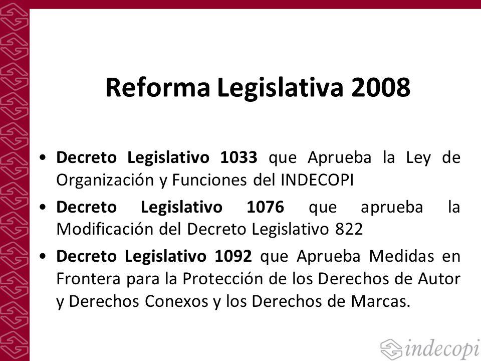 Reforma Legislativa 2008 Decreto Legislativo 1033 que Aprueba la Ley de Organización y Funciones del INDECOPI.