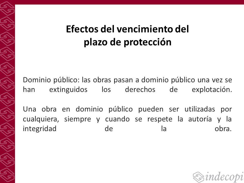 Efectos del vencimiento del plazo de protección