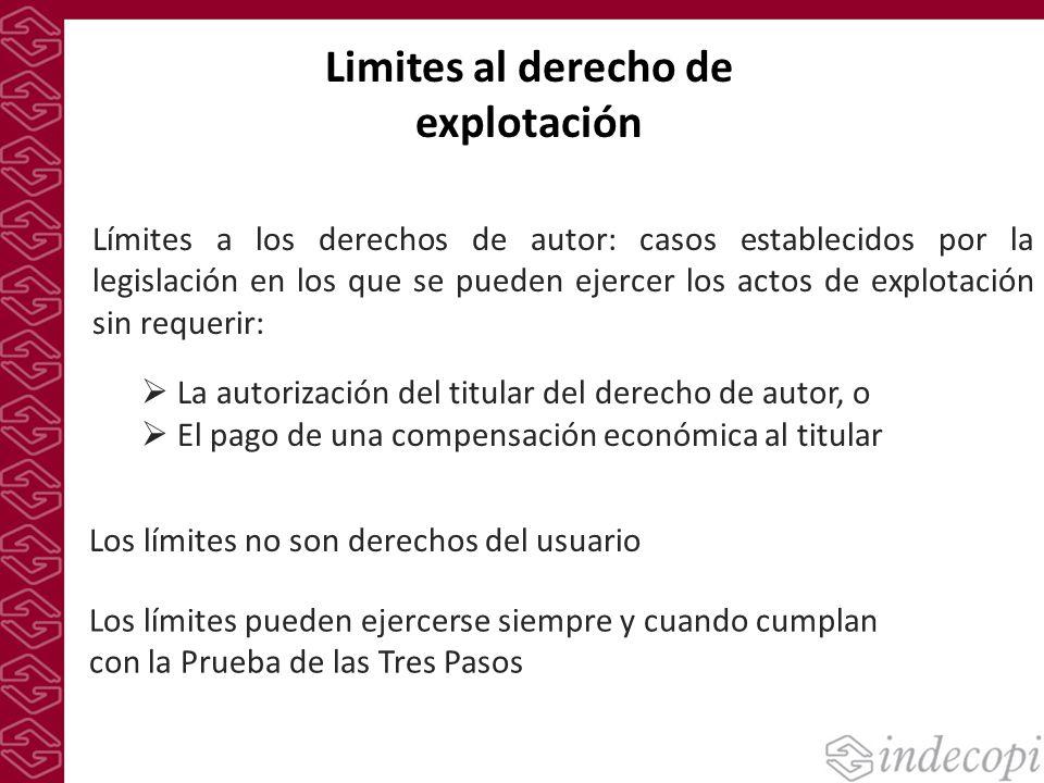 Limites al derecho de explotación